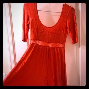 Dress with lace waistline